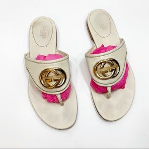 Gucci Britt White Leather Logo GG Sandals
